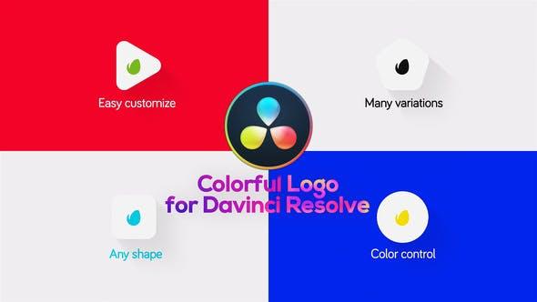 达芬奇模板-简洁明亮迷你LOGO标志图形片头 Minimal Colorful Logo for DaVinci Resolve
