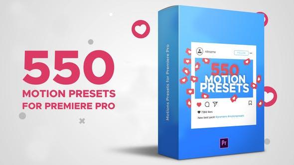 PR模板-550种图层出入动画动作预设-适合视频图片LOGO文字等 Motion Presets for Premiere Pro