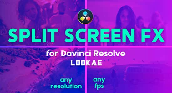 达芬奇模板-13种动态分屏多画面网格组合布局预设 Split Screen FX – Grid Layouts