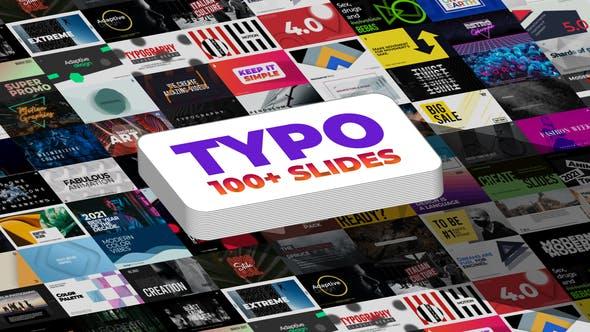 AE模板-100种彩色图形海报排版文字标题动画 Typography