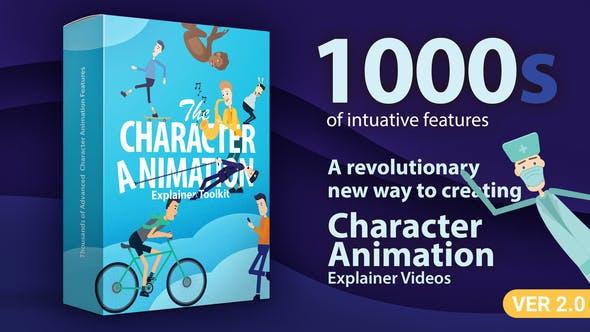 AE模板-能180度旋转职业场景卡通人物动作嘴型绑定MG动画包 Character Animation Explainer Toolkit v2