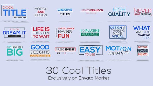 AE模板-30个简单彩色文字标题排版动画 30 Cool Titles