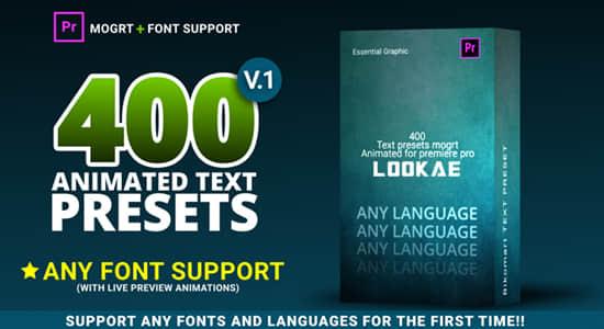PR预设-400个旋转缩放间隔缓入缓出文字动画预设 400 Text Preset For Premiere Pro