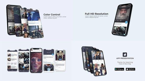 AE模板-三维手机应用界面社交媒体广告宣传展示介绍动画 App Presentation V2.0