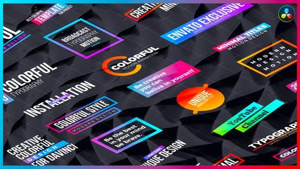 达芬奇模板-20个彩色渐变图形文字标题动画 Colorful Titles DaVinci Resolve