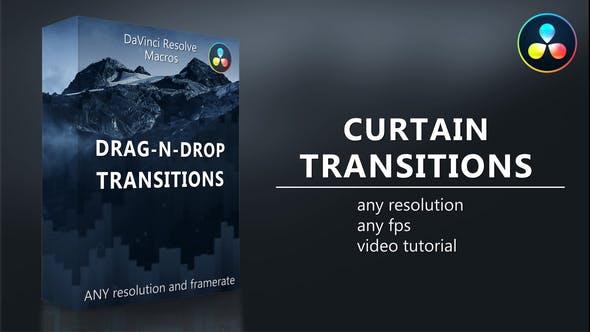 达芬奇模板-20个简单图形窗帘式拉开过渡转场预设 Curtain Transitions