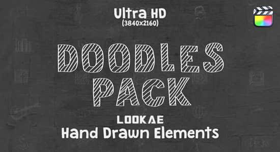 FCPX插件-200个可爱卡通手绘线条涂鸦图形动画 Doodles Pack