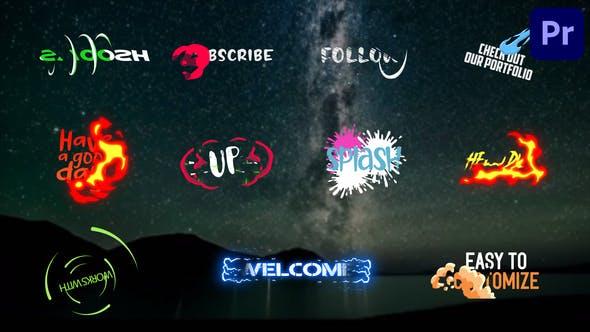 PR模板-11组MG动漫卡通文字标题动画 Dynanic Cartoon Titles Premiere Pro MOGRT
