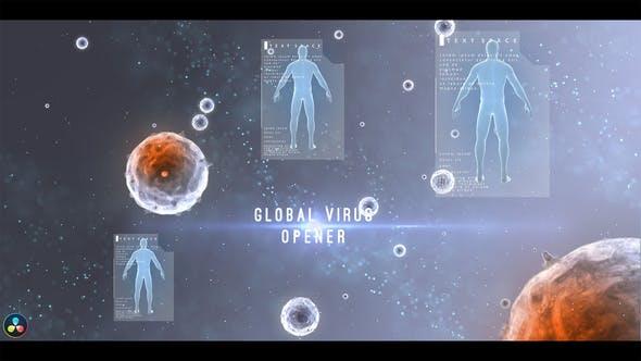 达芬奇模板-生物科技人体病毒文字标题动画 Global Virus Opener