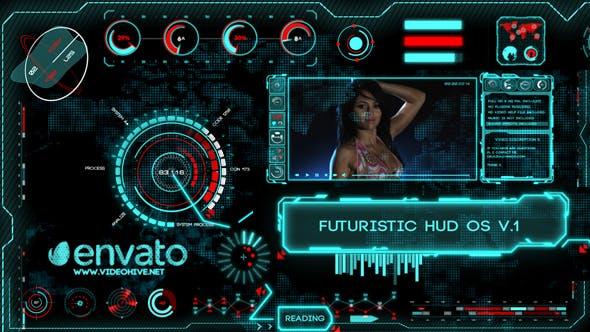 AE模板-未来科技HUD元素UI界面动画 High Tech OS V.4