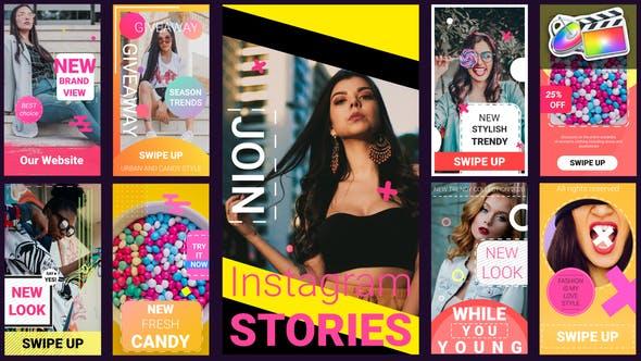 FCPX插件-9组时尚手机竖屏排版封面设计宣传动画 INS Stories