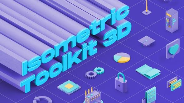AE模板-三维立体等距社交网络媒体电子商务图标MG动画 Isometric Toolkit 3D