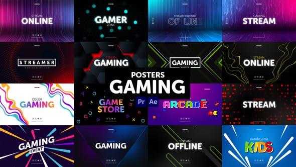 AE/PR模板-游戏宣传介绍图文排版海报动画 Posters Gaming