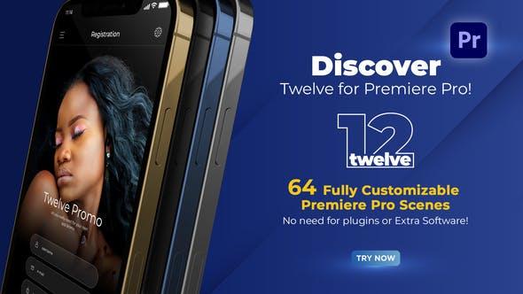 PR脚本-64个三维手机APP应用宣传介绍展示片头动画 Twelve App Promo for Premiere Pro