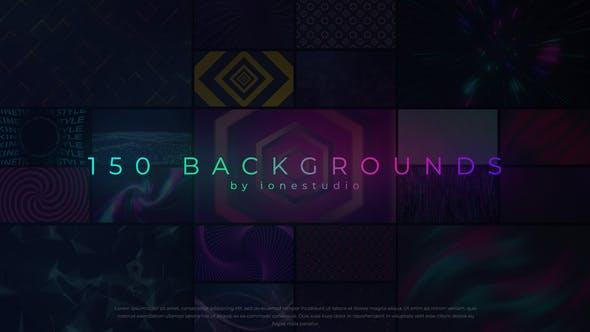 AE模板-150个漂亮彩色渐变图形背景循环动画 Loop Backgrounds