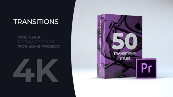 PR模板-50个MG彩色图形文字标题过渡转场预设 Title Transitions MOGRT