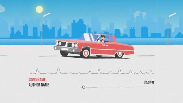 AE模板-二维卡通MG汽车音频可视化效果动画 Car Music Visualizer