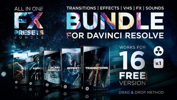 达芬奇模板-1000种无缝转场视觉特效VHS光效叠加预设包 FX Presets Bundle for DaVinci Resolve
