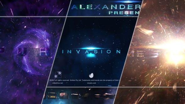 AE模板-大气震撼电影宣传预告片粒子光效标题片头 Invasion Trailer