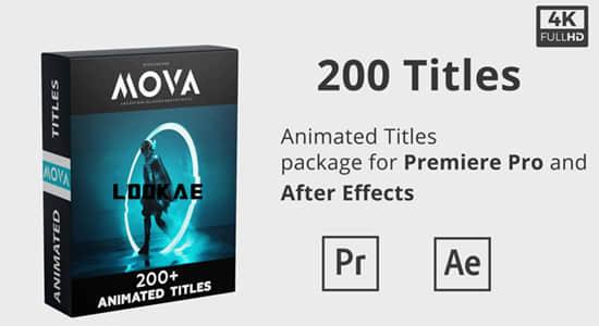 AE/PR模板-200个简单实用文字大标题动画预设 Mova Cinematic Titles