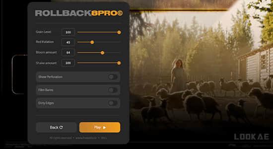 AE/PR脚本-一键快速生成8mm胶片噪点刮痕光效叠加效果插件 ROLLBACK8 Pro + 使用教程