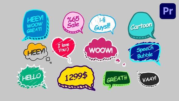 PR模板-12个综艺卡通有趣气泡花字标题动画 Speech Bubbles