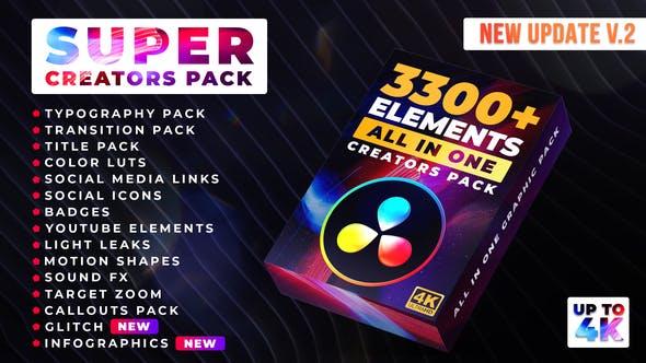 达芬奇模板-3300个视频LUTS调色文字标题图形动画无缝转场预设包 Super Creators Pack