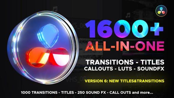 达芬奇模板-1600种视频无缝转场LUT调色音效预设V6 Transitions Library for DaVinci Resolve