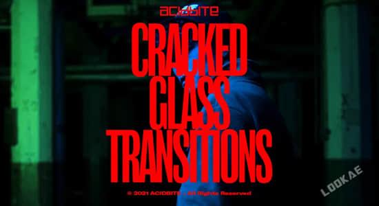 4K视频素材-17个玻璃破碎炸裂转场过渡特效动画 有透明通道 Cracked Glass Transition