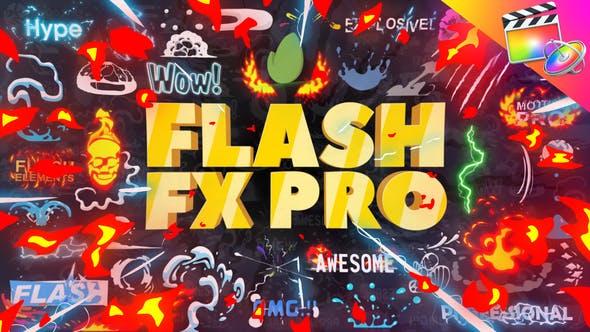 FCPX插件-374个二维卡通动漫火焰能量LOGO标题转场MG动画元素包