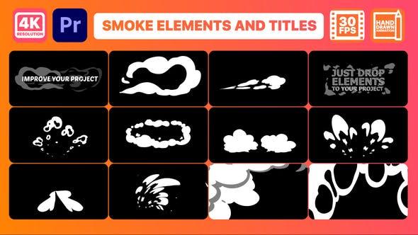 PR模板-15个二维卡通烟雾MG动画 Smoke Pack And Titles