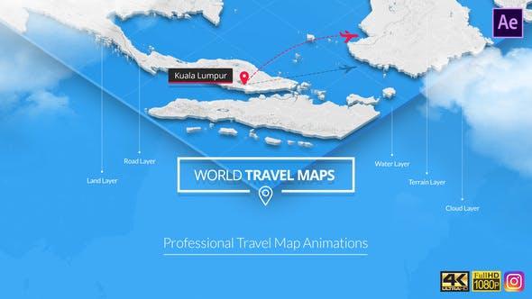 AE模板-世界地图旅行导航交通运输出行定点坐标连线动画 World Travel Maps