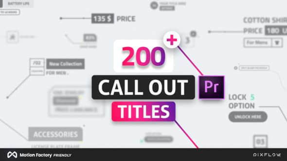 PR脚本-200种科技感线条呼出文字标题介绍动画预设 Line Call Out Titles for Premiere Pro