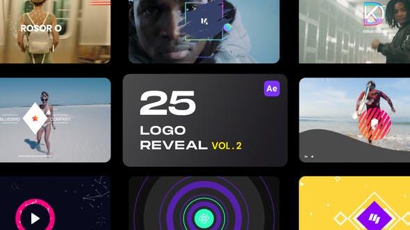 AE模板-第二季 25个简洁彩色图形LOGO标志片头 25 Logo Reveal Bundle V2
