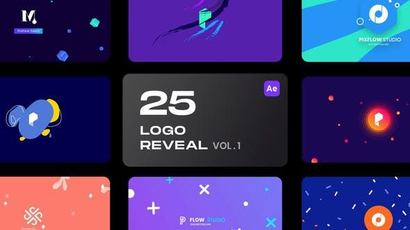 AE模板-25个简洁彩色图形LOGO标志片头 25 Logo Reveal Bundle V1