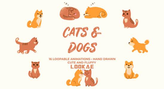 视频素材-16组手绘卡通可爱猫猫狗狗动画 Cats And Dogs Hand Drawn Pack