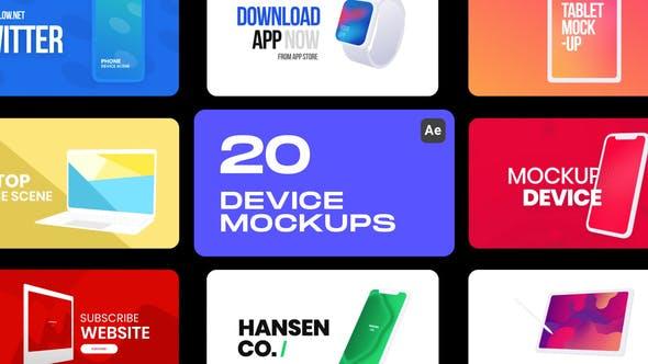 AE脚本-20组数码产品手机平板电脑手图形动画展示 Device Mockups