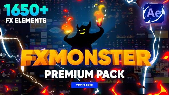 AE脚本-1650种动漫卡通标题转场能量闪电烟雾火焰流体MG动画元素包 FX MONSTER – Premium Pack