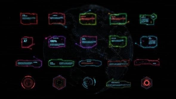 FCPX插件-20个未来科技HUD界面信息元素动画 HUD Interface