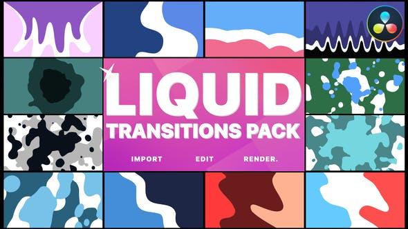 达芬奇模板-平滑流体图形转场过渡预设 Liquid Motion Transitions