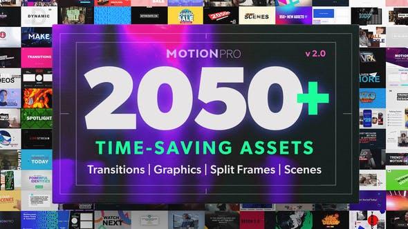 PR模板-2050个社交媒体字幕条标题图形排版设计分屏LOGO背景信息图表特效预设 Motion Pro V2