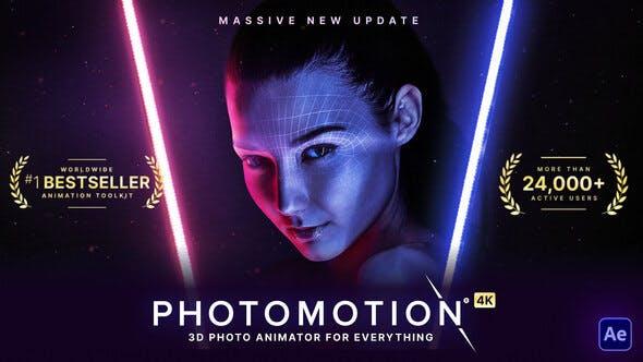 AE模板-平面图片转三维摄像机视差动画透视特效 Photomotion V11 – 3D Photo Animator (6 in 1)