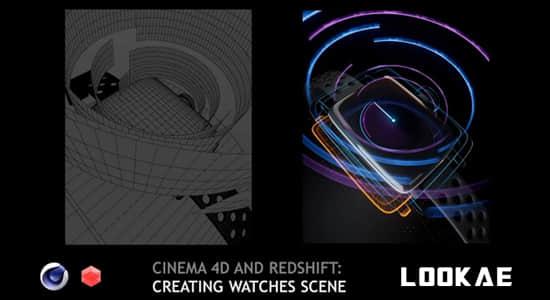 C4D教程-科技感手表全息投影HUD界面动画制作 (英文字幕) Cinema 4D Creating Watches Scene