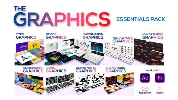 AE/PR模板-700个现代时尚文字标题排版设计背景图标图形动画 The Graphics Essentials Pack