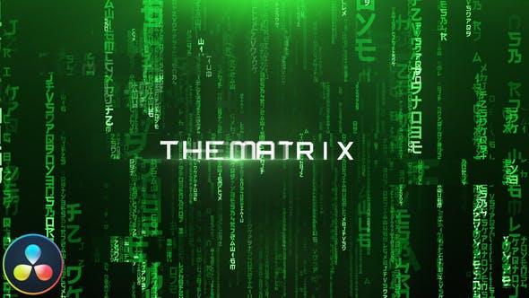 达芬奇模板-经典黑客帝国文字标题开场片头 The Matrix – Cinematic Titles