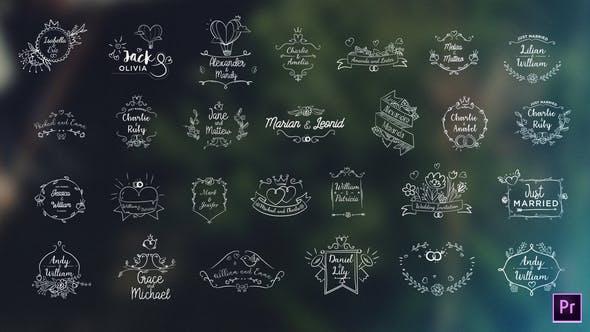PR模板-27个浪漫婚礼爱情小清新文字标题图形动画 Wedding Titles Bundle