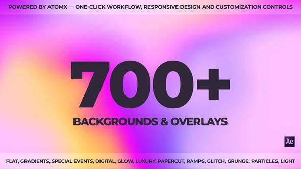 AE脚本-700个扁平化彩色渐变MG图形背景动画预设包 Backgrounds Pack