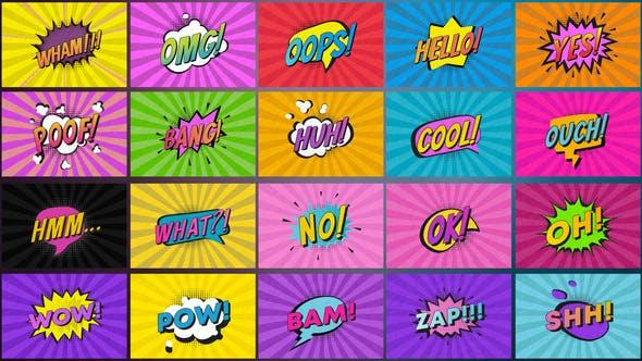 AE模板-20组综艺卡通可爱花字贴纸文字标题动画 Comic Titles After Effects