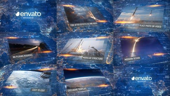 AE模板-数字科技感网格信息化幻灯片图文展示介绍片头 Digital Slideshow