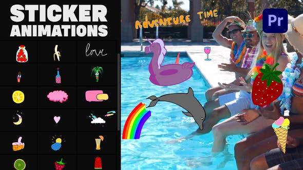 PR模板-30个快乐夏天手绘卡通图形贴纸动画 Happy Summer Stickers